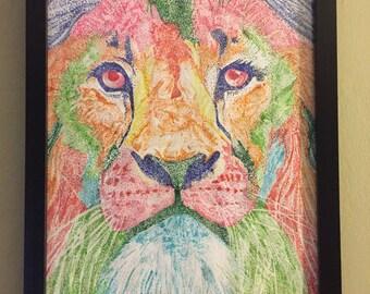 Framed lion drawing