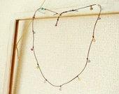 SALE! Rustic Dangle Necklace / Irish Linen Cord / Chocolate or Coral