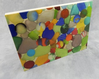 Sea Glass and Sea Marbles Print on Wood