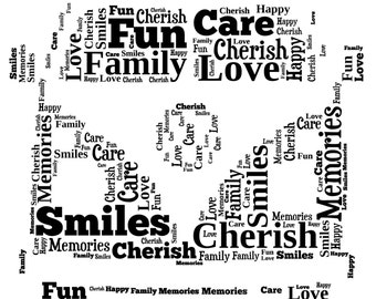 A4 Personalised Word Art VW Camper Print (UK ONLY)/Download