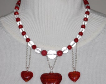 Red Coral & Crystal Necklace @ Red Glass Hearts and Sterling Silver Findings