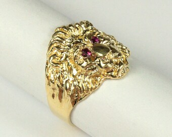 14K Lion's Head Ring - Ruby Eyes