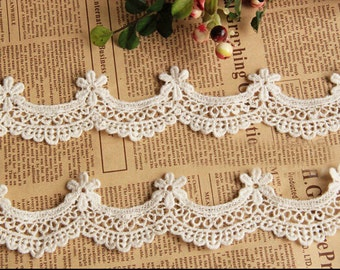 "10 yard 2cm 0.78"" wide ivory cotton scallop embroidered lace trim ribbon tapes r6yjg2 free ship"