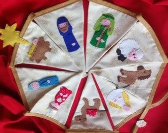 Nativity bunting, Christmas bunting, nativity character bunting, Christmas story bunting, festive garland, Christmas decor, Mary and Joseph