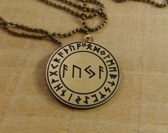Rune spell talisman, magic formula AUJA attracts happiness and good luck to the side of the owner, Vikings necklace