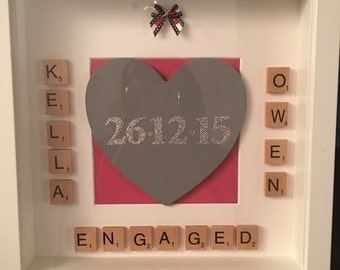 Engagement/anniversary scrabble frame