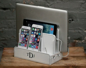 Customized family Vegan leather multi charging station and  dock with cord organizer, monogram