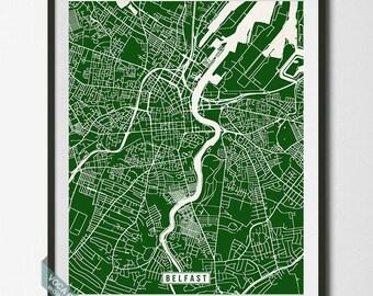 Belfast Map, Ireland Poster, Belfast Poster, Belfast Print, Ireland Print, Ireland Map, Northern Ireland, Street Map, Dorm Decor