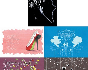 Greeting cards * Christmas * new year * Disney * Mickey Minnie * Elsa Frozen * Blanche Neige * shoes *.
