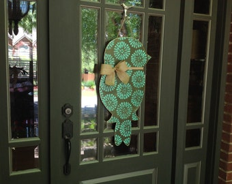 Long Bird Door Hanger in Large Floral Turquoise on Brown