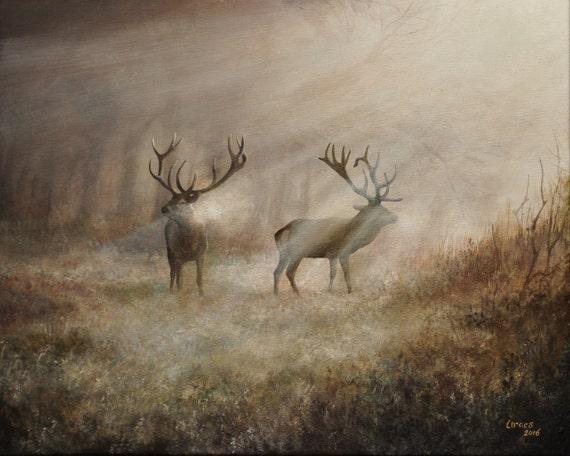 DEER RUTTING Original oil painting, handmade on canvas, 40 X 50