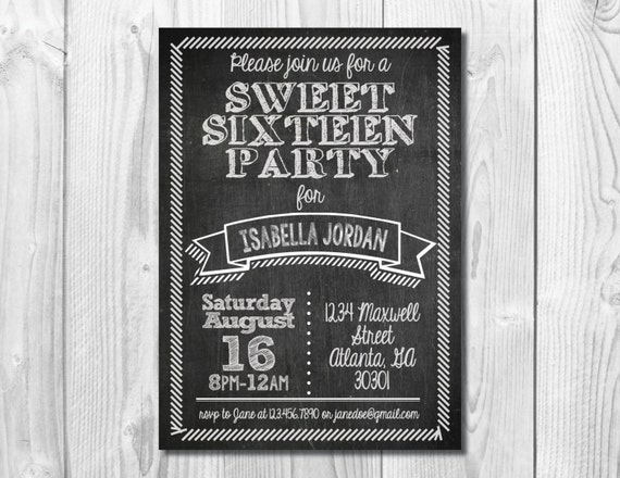 Chalkboard Sweet Sixteen Party Invitation >> Sweet 16 Birthday Invite >> 16th Birthday Party >> Custom Printable Digital File