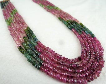 Exclusive 5 Line 289Carats Natural Multi Tourmaline FACETTED Round BEADS NECKLACE