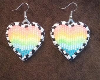 Rainbow Heart Earrings, Black Light Reactive
