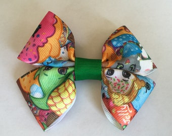 Colorful Shoppkins Bow with alligator clip