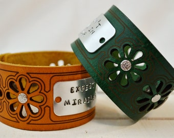 Cut Daisy Leather Cuff Bracelet