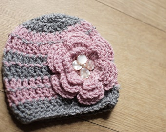 RTS Newborn Hat: Grey & Pink wool mix with Flower
