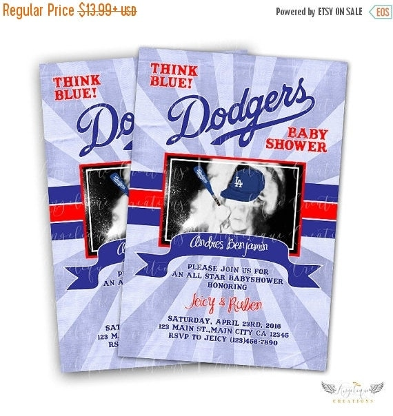 ON SALE Dodgers Baby shower Invitations & Blank Thank You Card to match