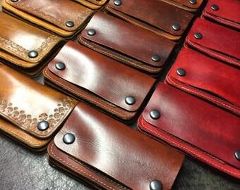 Leather biker wallet / leather chain wallet / leather trucker wallet
