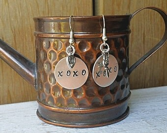 XOXO Earrings, Valentines Day Earrings, Handstamped Earrings, Stamped Aluminum Earrings, Love Earrings, Key Heart Earrings, Stamped Jewelry