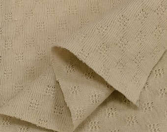 Lt Tan Pointelle Knit Fabric