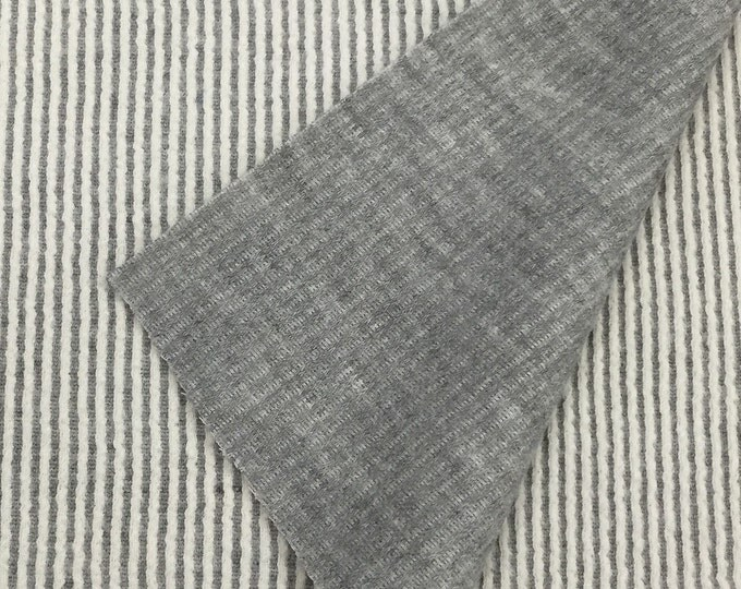 Textured Cotton Blend Corded Knit Fabric (Wholesale Price Available by the Bolt) USA Made Premium Quality - 5081h Heather Grey - 1 Yard