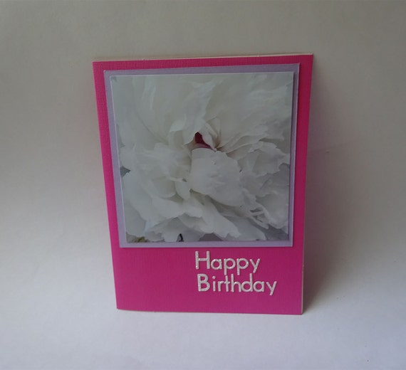 Birthday Card with White Peony Flower - #515