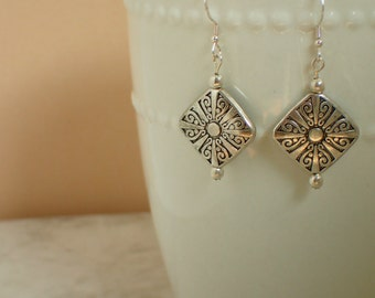 Antique Silver Beaded Earrings