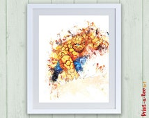 Marvel Super hero Squad The Thing digital poster, The Thing print, Fantastic Four nursery superhero poster, nursery superhero poster