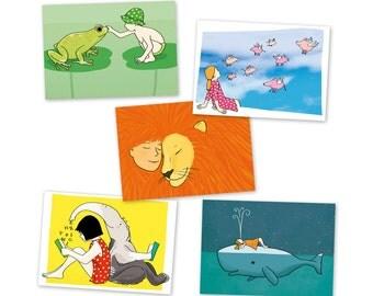 Set of 5 postcards Friendship