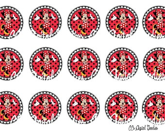 INSTANT DOWNLOAD-One Inch 4x6 Bottlecap Image Sheet-Minnie Mouse-Minnie-Red-1 inch