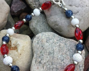 8-inch Red/White/Blue/Silver Glass Beaded Bracelet With Toggle Clasp #43