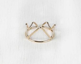 Cutout Crown Split Ring - Gold