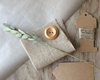 Gift Wrapping Pack with Jute, hessian, wooden button and Kraft paper