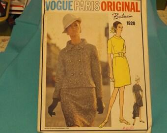 1960 Vogue SIZE 16 # 1920 Paris Original Balmain CUT