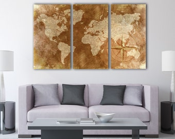 3pc. Rustic World Map