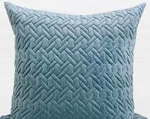 """Luxury Sky Blue Braid Textured Quilting Pillow Cover 24""""X24"""""""