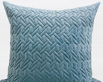 "Luxury Sky Blue Braid Textured Quilting Pillow Cover 24""X24"""