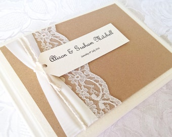 Wedding Guest Book Vintage Knots Brown Personalised ANY COLOUR