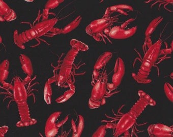 Lobsters on black quilt fabric. Timeless Treasure.