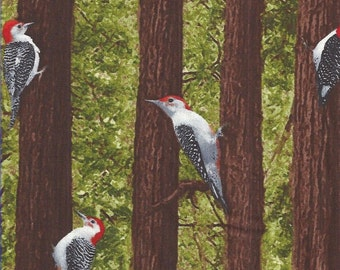 Woodpecker in Trees Quilt Fabric Timeless Treasures 1141.