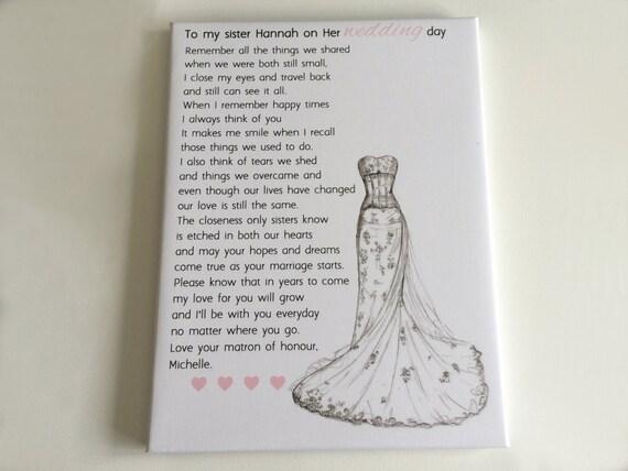 Wedding Dress Bridesmaid Gift Maid Of Honour Poem Bride