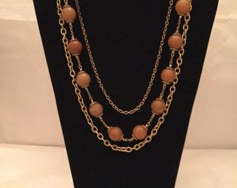 Semi Precious Peach Aventurine Multi Strand Necklace