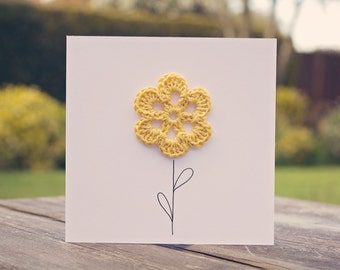 Crochet Yellow Flower Card
