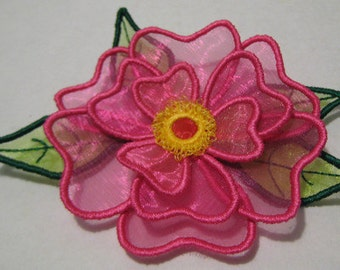 Free Standling Applique 3D Flower Project #392 ( Machine Embroidery Design from ATW )