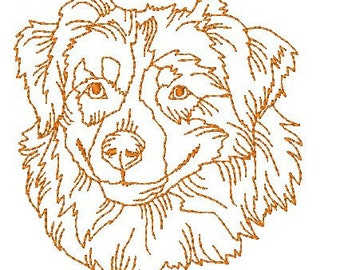Australian Shepherd Dog Redwork   ( 10 Machine Embroidery Designs from ATW )