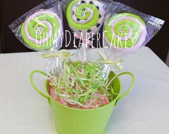 Set of Three (3) Washcloth Lollipops, Baby Shower Centerpiece, Baby Shower Decoration, Baby Shower Favor, Diaper Cakes for Boy or Girl