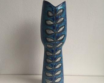 Mid century mod Gambone Fantoni Bitossi era Etruria Arte Nove Vicenza Italian studio pottery Fish Mouth vase