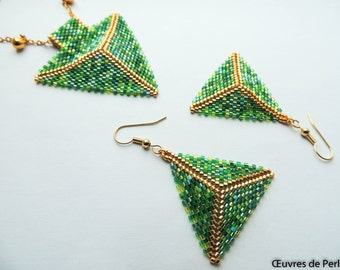 Seed beads jewelry set of green Miyuki earrings and pendant Beadweave jewelry set Beaded jewelry set Christmas gift for her chain excluded