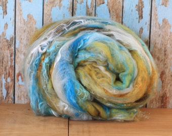 Electric Avenue Hand carded art batt, Merino, English Leicester, and Mulberry Silk, 3.7 oz, For Spinning, Weaving, Felting and Fiber Art.
